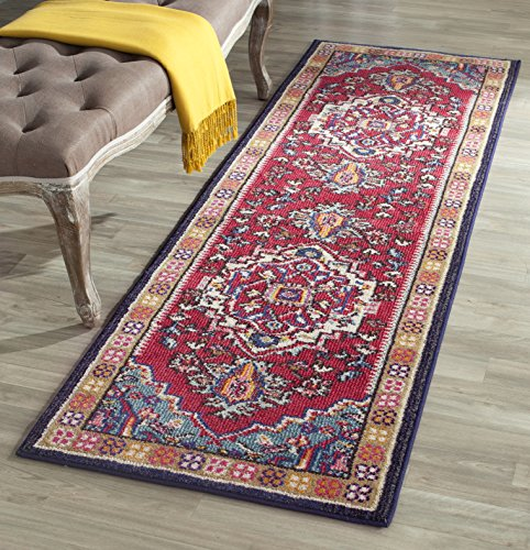 (Safavieh Monaco Collection MNC207C Modern Oriental Medallion Red and Turquoise Distressed Runner (2'2