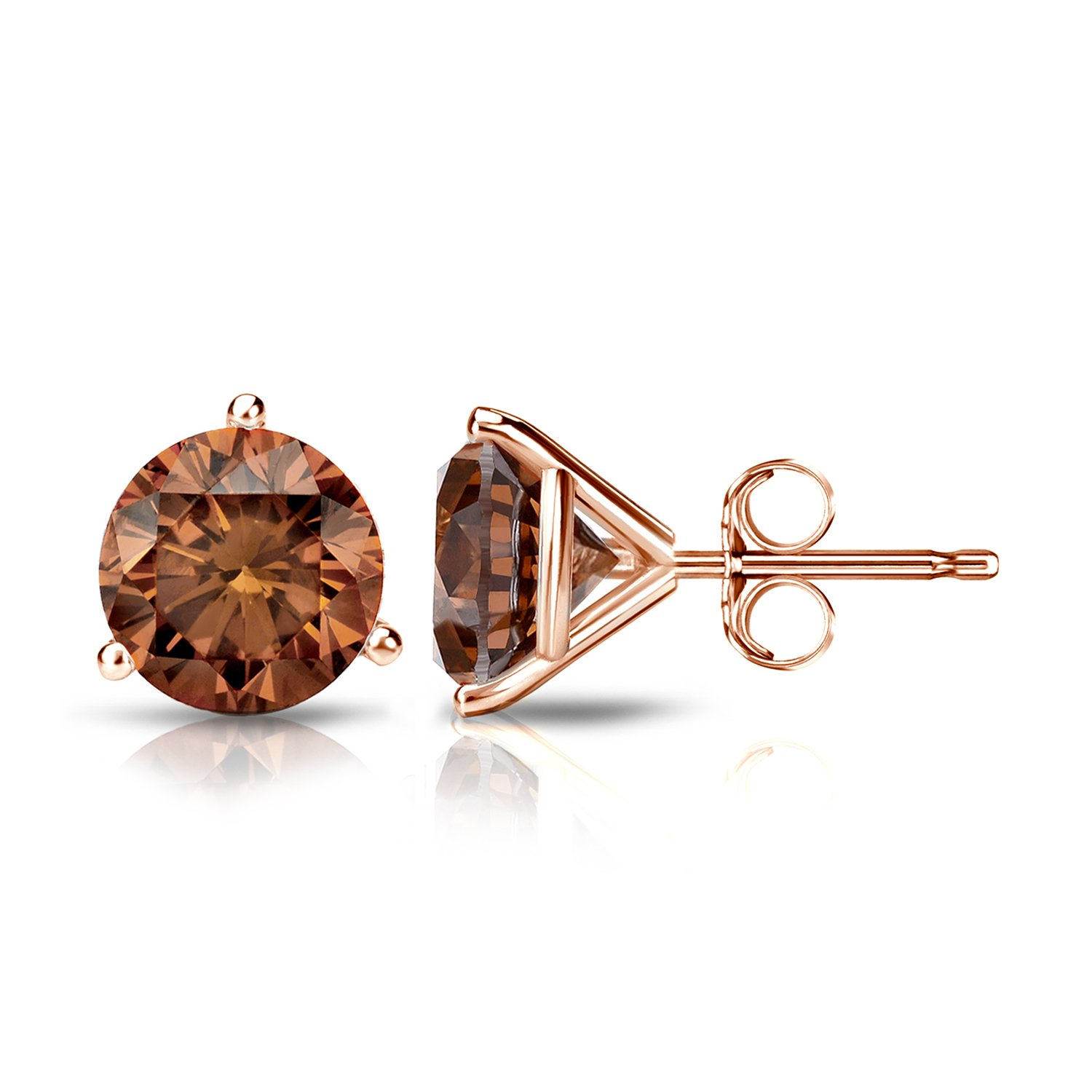 14k Rose Gold Round Brown Diamond 3-Prong Martini Stud Earrings (1 1/2 ct, Brown, SI1-SI2) Push-Back