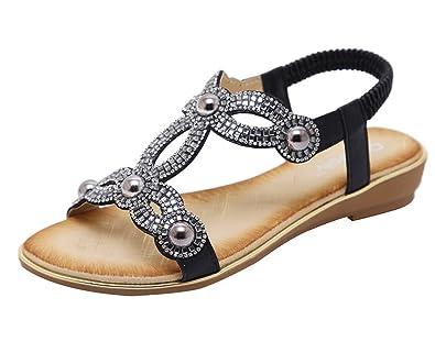 f1655820e405c AGOWOO Women s Bling Beaded Flat Strap Walking Beach Sandals Black 5.5 ...
