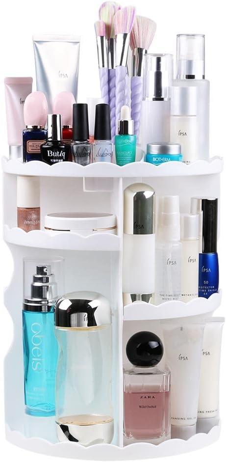Bandeja de cosméticos,Organizador de Maquillaje Giratorio de 360 Grados,Caja de Almacenamiento de Maquillaje para Todo Tipo de brochas y cosméticos