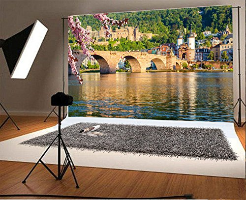 Laeacco 7x5FT Vinyl Backdrop Photography Background Bridge Heidelberg Spring Germany Pink Flowers Blossoms Water Buildings Scenery Theme Backdrop Photo Shooting Studio Props Wedding Party Outdoors