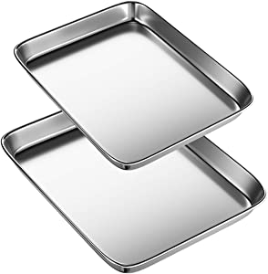 Cookie Sheets Pans for Toaster Oven,Small Stainless Steel Baking Sheet Tray, BYkooc Dishwasher Safe Oven Pan, Anti-rust, Sturdy & Heavy, 10 x 8 x 1 & 12.4 x 9.6 x 1 inch, 2 pcs/set