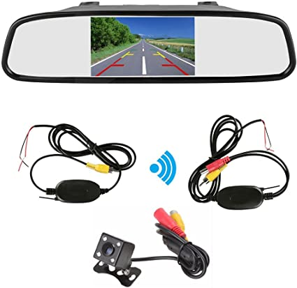 "4.3/"" Car LCD Monitor Mirror+Wireless Reverse Rear View Backup 7 LED Camera Kit"