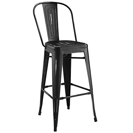 Modway Promenade Modern Aluminum Bistro Bar Stool in Black With Rain Slot