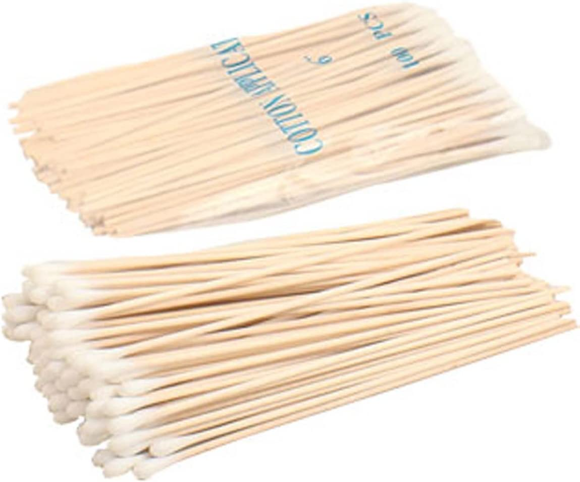 100 Count 6 Single Ended Cotton Swabs With Wooden Sticks