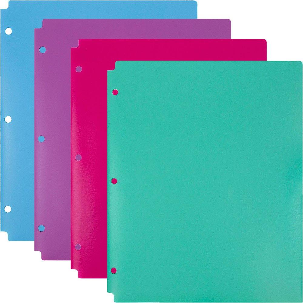JAM Paper 2 Pocket 3 Hole Punched Plastic Presentation School Folder - Assorted Colors - 4/Pack