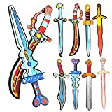rainbow yuango Set of 8 17'' Assorted EVA Foam Swords Set Warrior Weapons Toy Pretend Playset for Kids Different Designs Including Ninja, Pirate, Warrior, and Viking