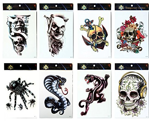 Long lasting and realistic temp tattoo stickers 8pcs mixes Halloween in a packages,including spiders, terrible skulls,skull with flowers,snake and leopard tattoos]()