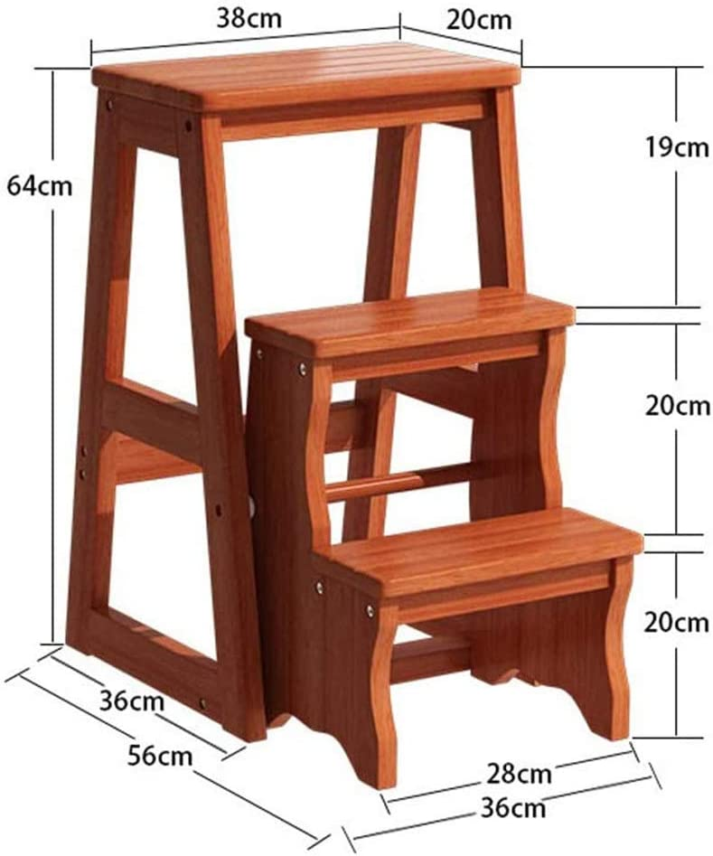 LH Modern Multi-functional Step Stool Library Ladder Chair Library Furniture Folding Wooden Stool Chair Step Ladder For Home (Color : Brown) Brown