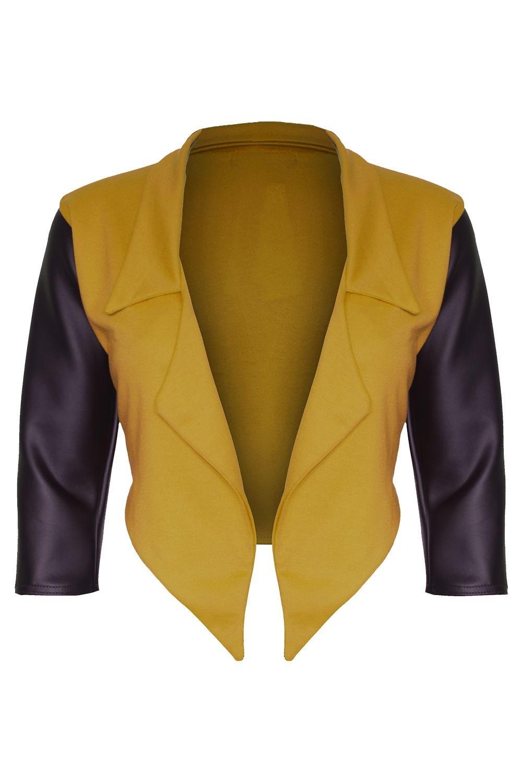 Oops Outlet Womens Ladies PVC 3//4 Sleeve Waterfall Open Front Crop Coat Blazer Top Plus Size Black