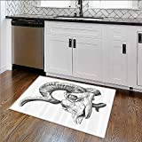 Bathroom Rug Carpet Skull and Blooms Catholic Popular Ceremy Celebrating Artistic Vintage Anti Bacterial,Latex W24''xH18''