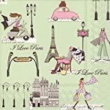 Ideal Home Range Boston International 20 Count 3-Ply Paper Luncheon Napkins, J'aime Paris