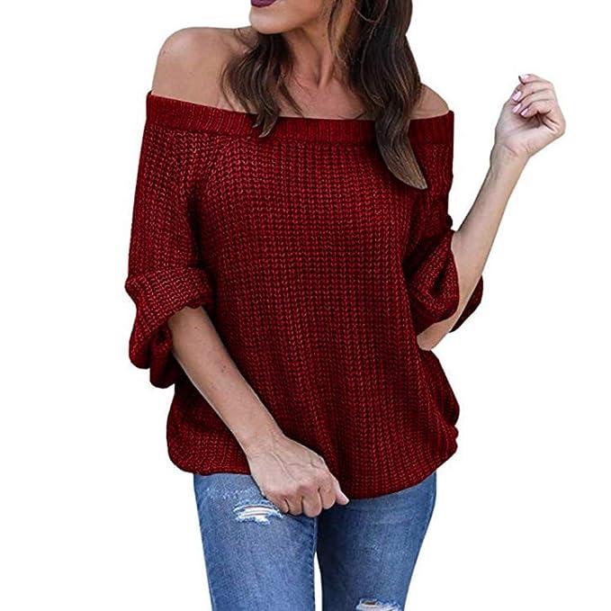 ZHRUI Mujeres Fuera del Hombro suéter de Punto Manga Larga Linterna Jersey Tops (Color : Azul, tamaño : Small): Amazon.es: Hogar