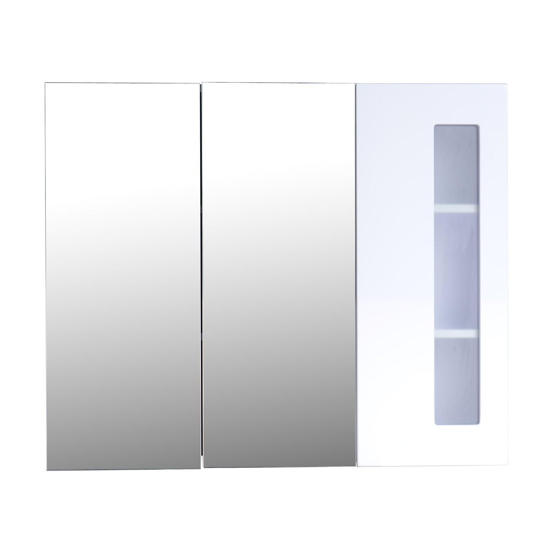 armoire de toilette salle de bain à miroir armoire murale 3 portes