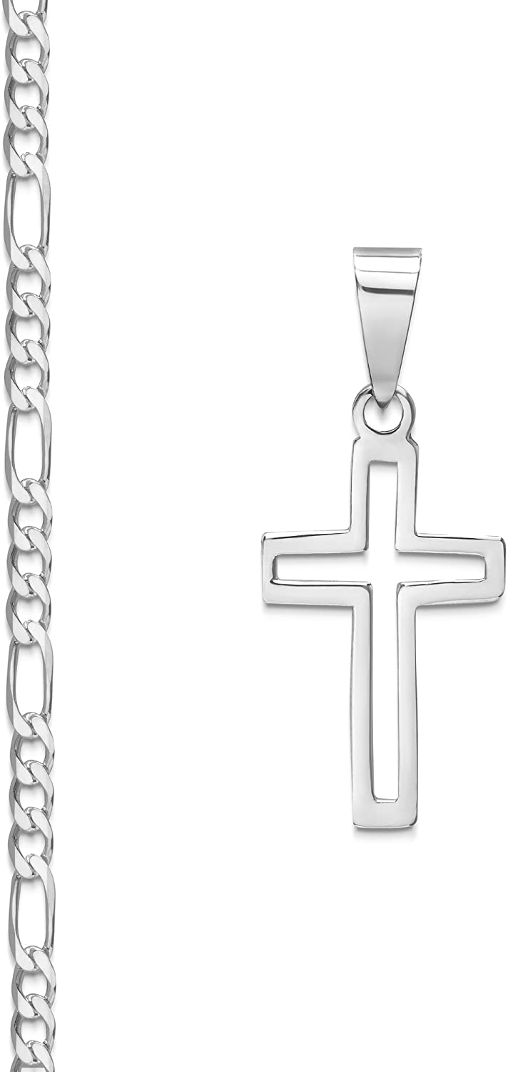 0.80 3mm Sterling Silver Cross Pendant Italian Made Mariner Chain Necklace