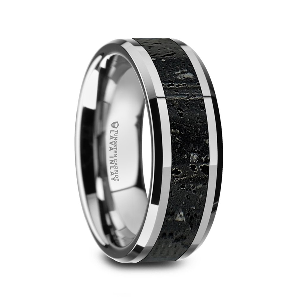 KILAUEA Men's Polished Tungsten Wedding Band with Black & Gray Lava Rock Stone Inlay & Polished Beveled Edges - 8mm
