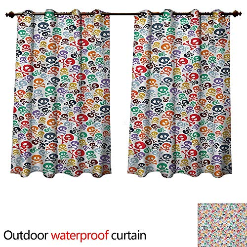 WilliamsDecor Skull Home Patio Outdoor Curtain Halloween Themed Colorful Skulls and Crossbones Funny Cartoon Style Pattern Print W84 x L72(214cm x 183cm)