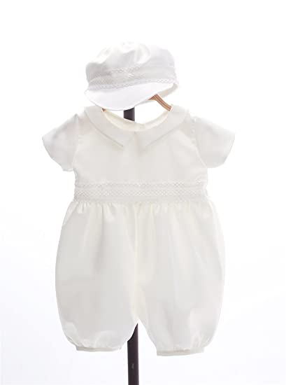 0e188ea35 Image Unavailable. Image not available for. Color: EsTong Baby Boys Baptism  Christening Gown Doll Collar Romper Outfits with Hat White 3M