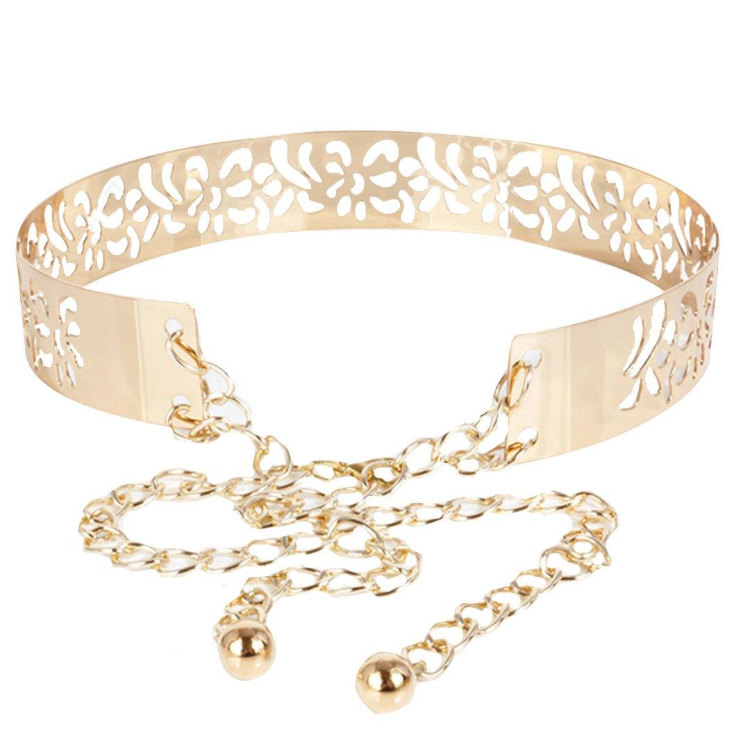 Fashion Metal Floral Buckle Elastic Stretch Waistband Waist Belt Chain