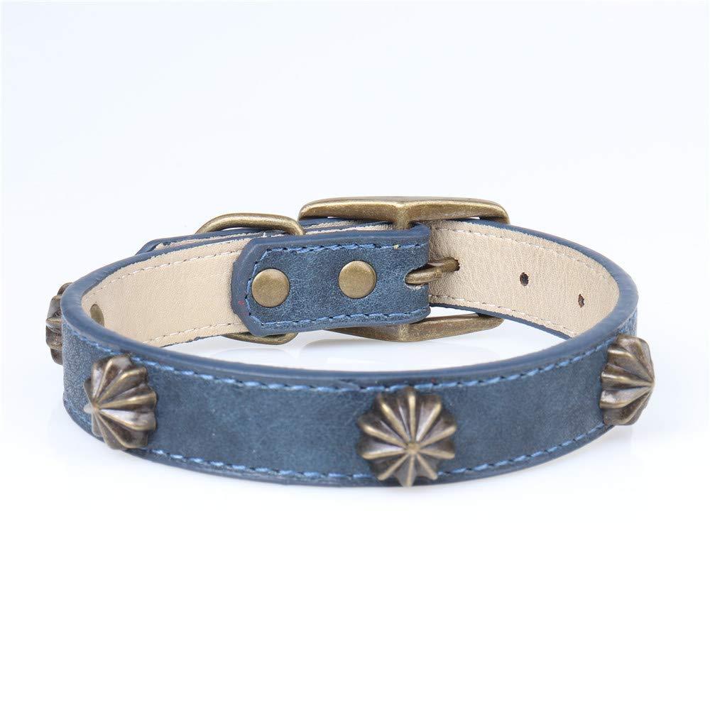 bluee 2.5×3545cm Lindou Pet collar Pet collar retro copp nail decoration adjustable dog collar,Brown,2.0×2936cm (color   bluee 2.5×3545cm)