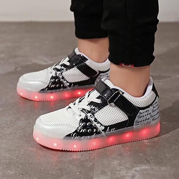 Giulot Toddler Kids LED Light Up Shoes Boys Girls Luminous Flashing Sneakers Running Sports Athletic Trainers
