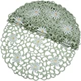 Xia Home Fashions Daisy Splendor 4-Pack Embroidered Cutwork Spring Round Doilies, 12-Inch, Green