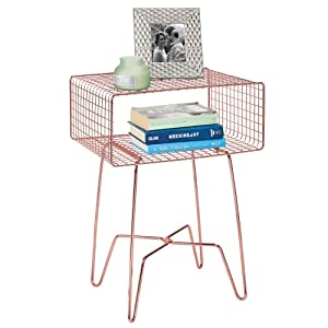 mDesign Modern Farmhouse Side/End Table - Metal Grid Design - Open Storage Shelf Basket, Hairpin Legs - Vintage, Rustic, Industrial Home Decor Accent Furniture for Living Room, Bedroom - Rose Gold