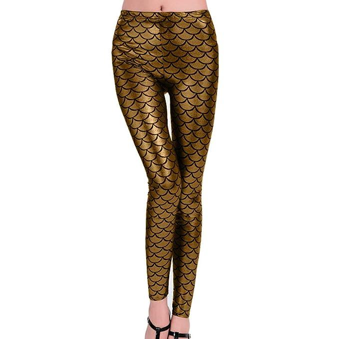 Pantalon ajustado con patron de escamas de pescado para baile o discoteca - Leggings con escamas de pescado.