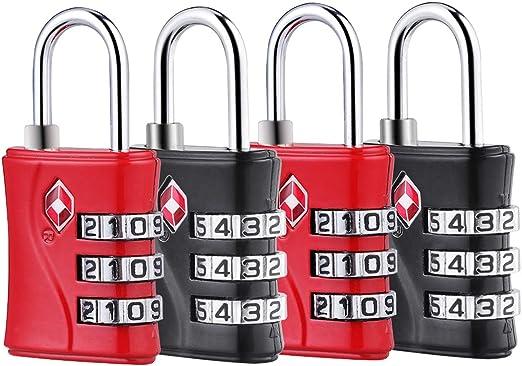 Fosmon Serrures /à Bagages TSA approuv/é,Cadenas de s/écurit/é /à 4 Chiffres,Cadenas /à Combinaison,Serrure Combin/ée,Code de Verrouillage,Code de Sac Lock pour Les Valises de Voyage,Sac de Bagages,Gym-Noir