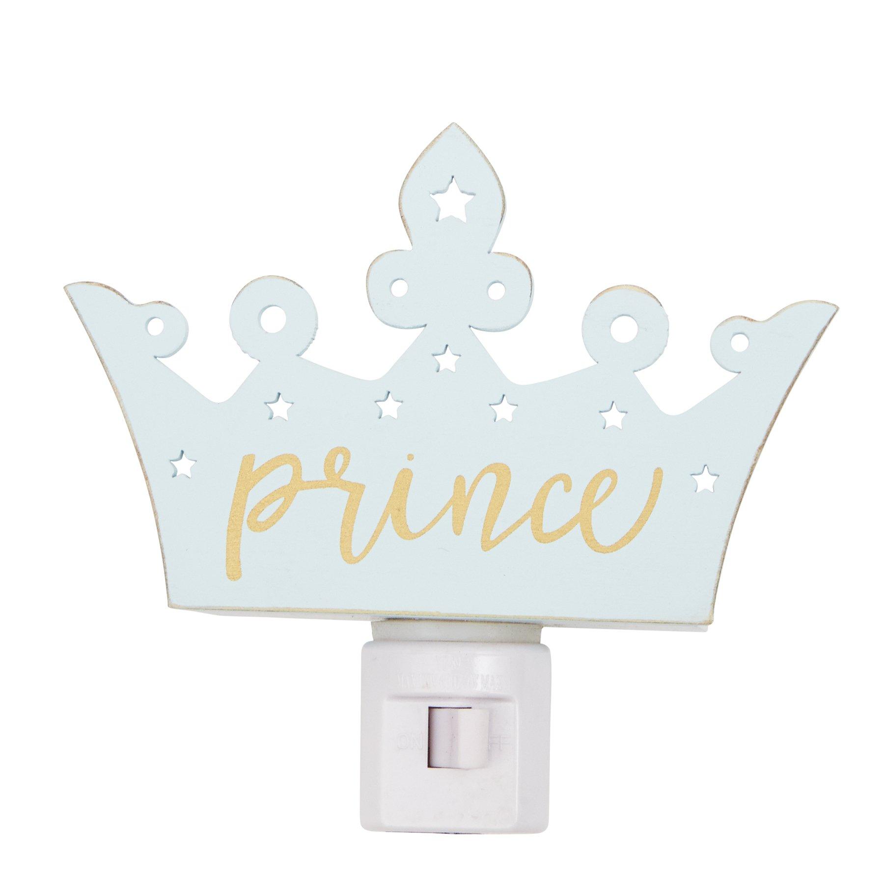 Mud Pie Prince Crown Wood Night Light, Blue