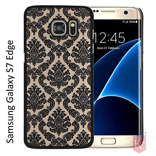 KC Semi Hard Black Flower Self Back Cover for Samsung Galaxy S7 Edge  Black