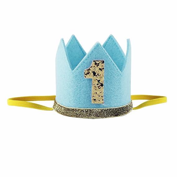 iiniim Corona Infantil Diadema Dorado con Lentejuelas Brillante Primer Cumpleaños Accesorios Diadema Fiesta Sombrero Gorro Príncipe Princesa para ...