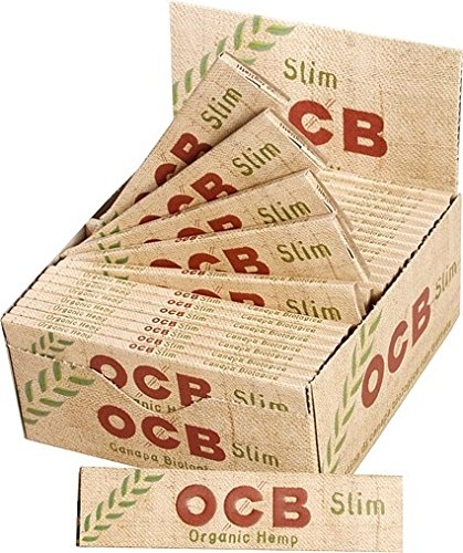 5 Books OCB Organic Hemp Unbleached Papers Slim King Size + Tips with Free BB Sticker