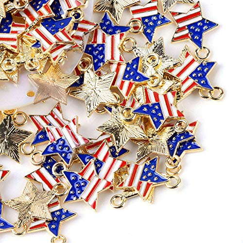 (Craftdady 100Pcs USA Flag Enamel Star Charms 18.5x15.5mm Gold Plated Metal American Flag Pendants for DIY Jewelry Making with 2mm Hole)
