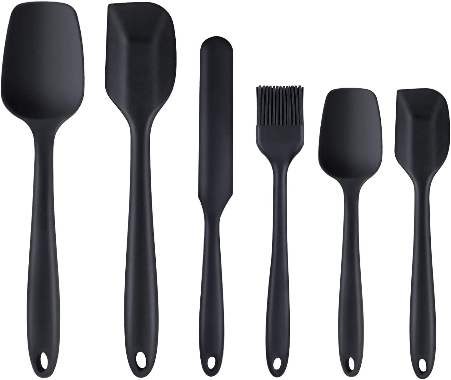 Silicone Spatula,6 piece Non-scratch Heat Resistant Rubber Spatula with Stainless Steel Core,Non Stick and Good Grips Spatulas for Cooking,Baking and Mixing(Black)