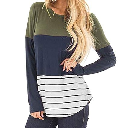Amazon.com  Women Comfy Round Neck Triple Color Block Stripe T-Shirt ... d8108d826