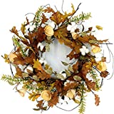 """Idyllic 20"""" Autumn Cotton and Pine Cone Wreath Decorative Faux Artificial Harvest Fall Maple Leaves Harvest Front Door Decor Wreath"""