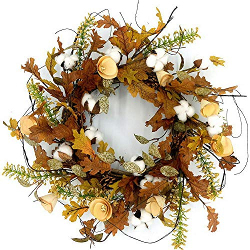 Idyllic 20'' Autumn Cotton Pine Cone Wreath Decorative Faux Artificial Harvest Fall Maple Leaves Harvest Front Door Decor Wreath by Idyllic