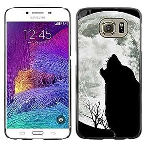 TopCaseStore / la caja del caucho duro de la cubierta de protección de la piel - Wolf Hauling Moon Wild Trees Nature Animal - Samsung Galaxy S6 SM-G920