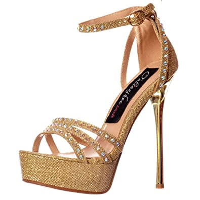 4b6b705165dc96 Shoekandi Women s Ladies Strappy Sparkly Glitter Stiletto Metallic Heel - Cross  Over Crystal Encrusted - Gold