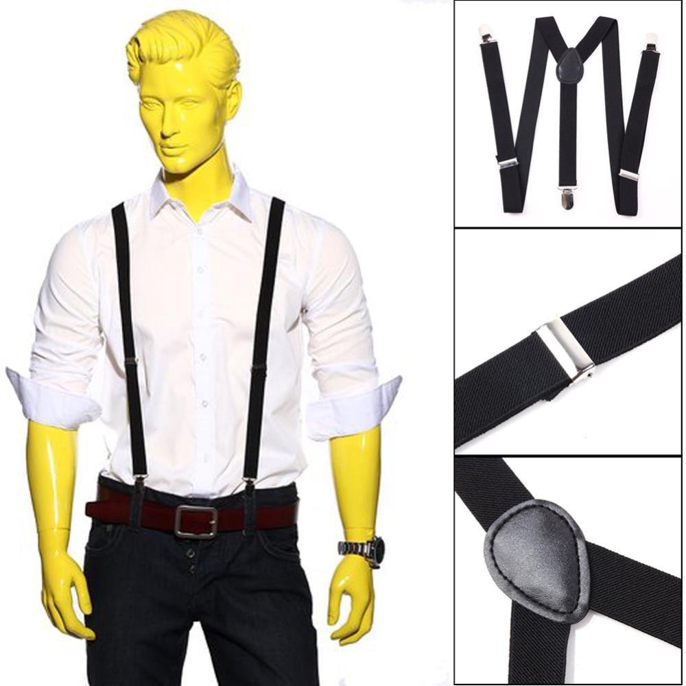 BOOLAVARD Solid Color Mens Suspender Bow Tie Set Clip On Y Shape Adjustable Braces