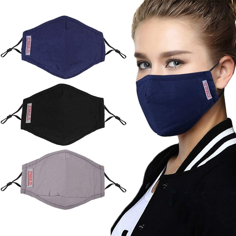 Protective masks, 3 pcs of Safety masks, with 6 pcs activated carbon filters, washable cotton masks, with adjustable