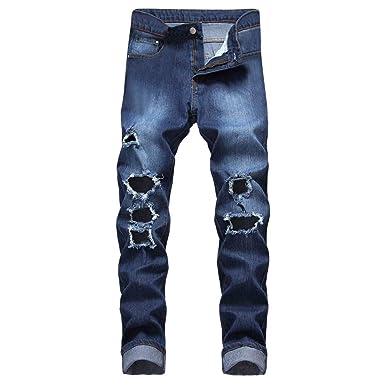 Pantalones Hombre Vaqueros Rotos Chandal Slim Fit Skinny Fitness ...