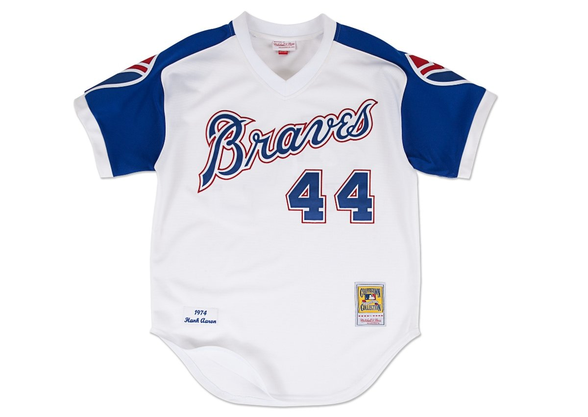 0e57d052 ... Amazon.com Hank Aaron 1974 Braves Mitchell Ness Jersey Sports Fan  Jerseys Sports Outdoors ...