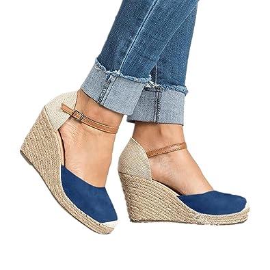 Sandalias Mujer Cuña, Verano Plataforma Punta Cerradas Bohemias Zapatos De Tacón Alto Alpargatas De Playa Fiesta Azul 43: Amazon.es: Zapatos y complementos