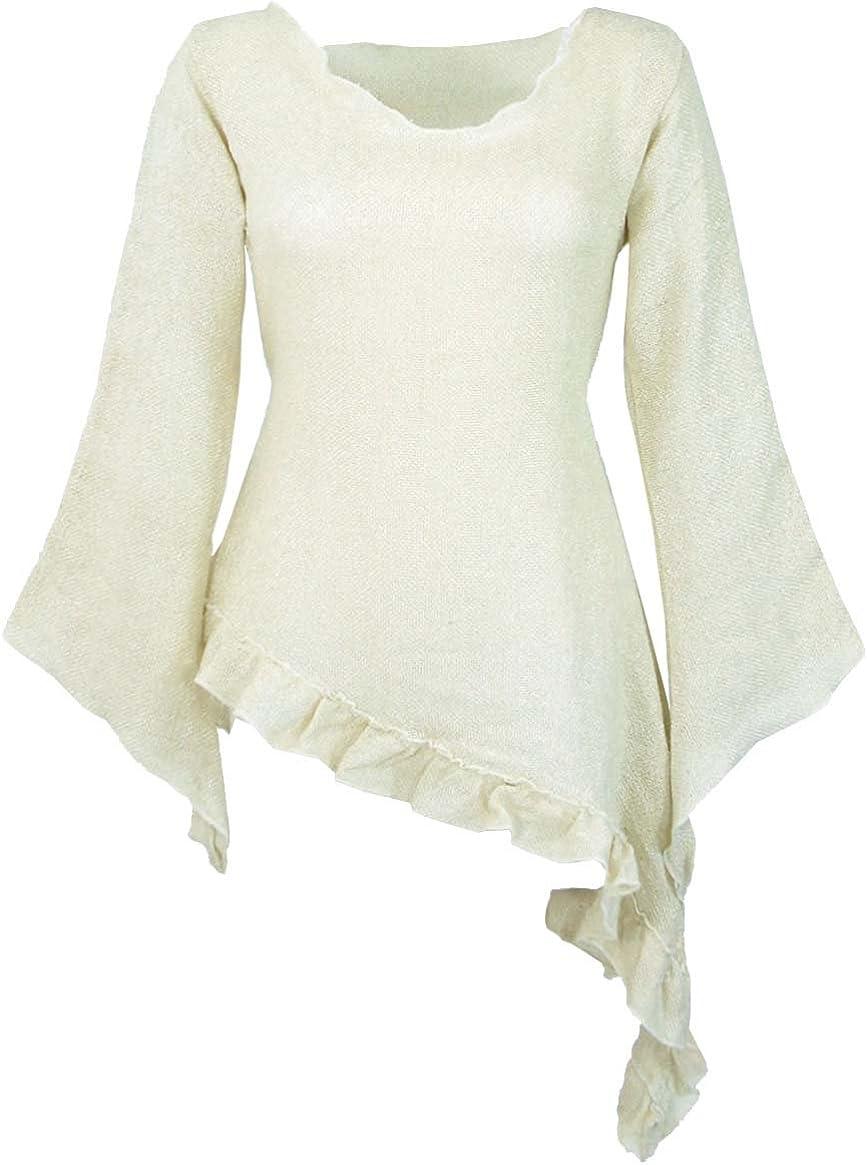 GURU-SHOP, Blusa Elfa, Blusa de Mujer, Túnica, Blanca, Algodón ...
