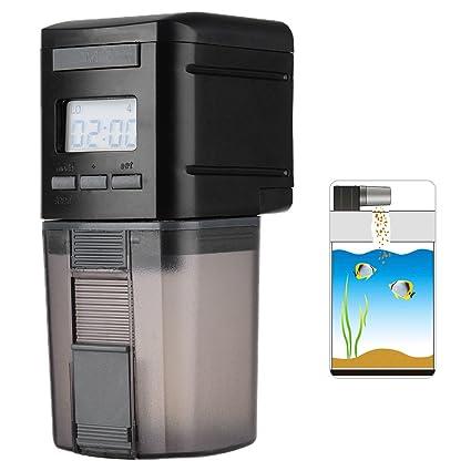 Petacc Alimentador Automático Acuario Multifuncional Comedero Peces Automático con Pantalla LCD y el Tiempo de Alimentación