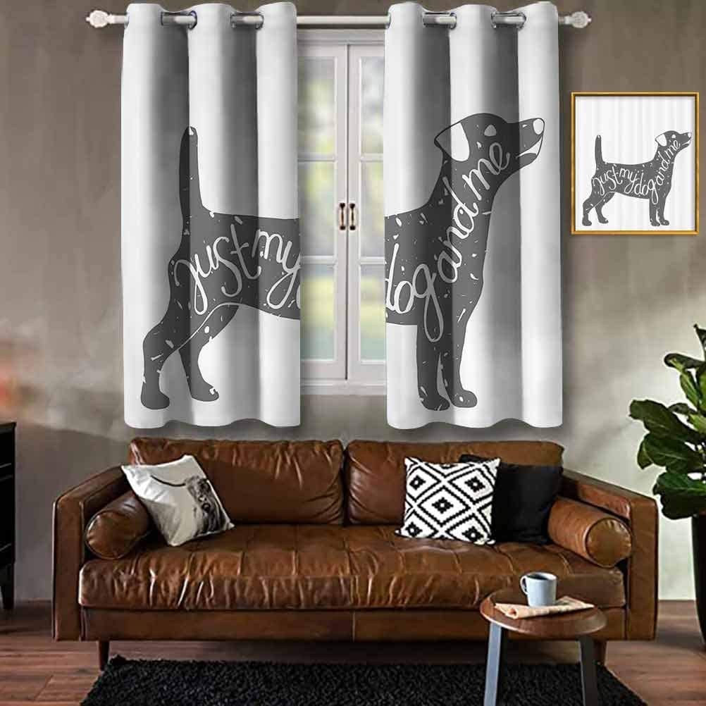 Dog Lover Decor Collection,Just Me and My Dog Message Quote Vintage Typographic Pet Label Art,Gray White Modern Print Curtains Hotel Hook Curtain W104 X L63 Inch