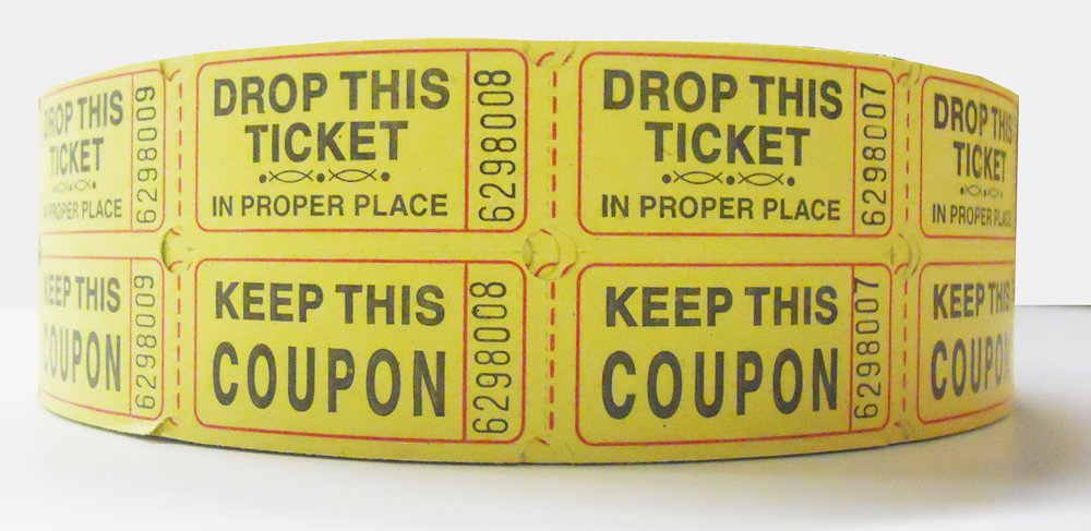 AmazonCom Yellow Double Raffle Ticket Roll  Tickets Roll