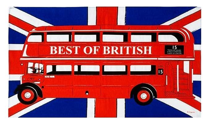 Strofinaccio Con London Bus Rosso Sfondo Con Bandiera Inglese